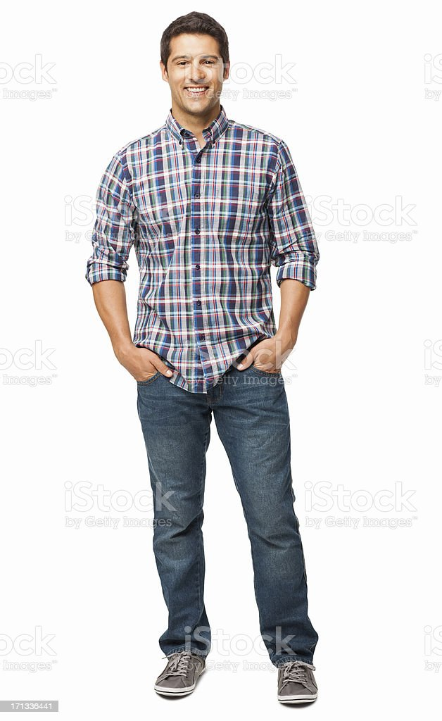 Man Standing With Hands In Pockets - Isolated stock photo