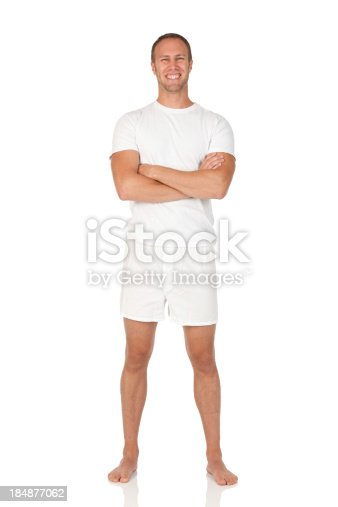 istock Man standing with his arms crossed 184877062