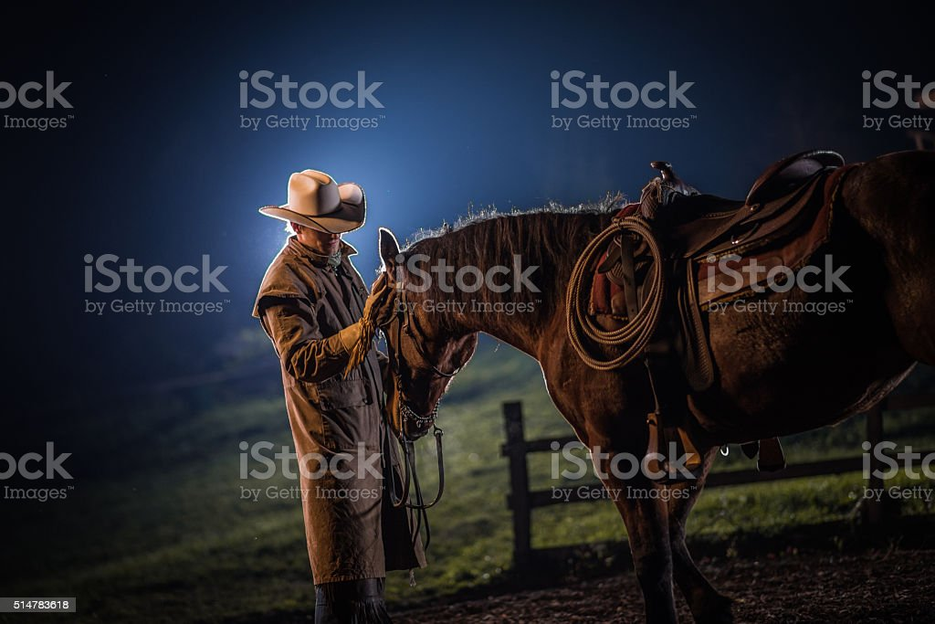 Man standing with horse stock photo