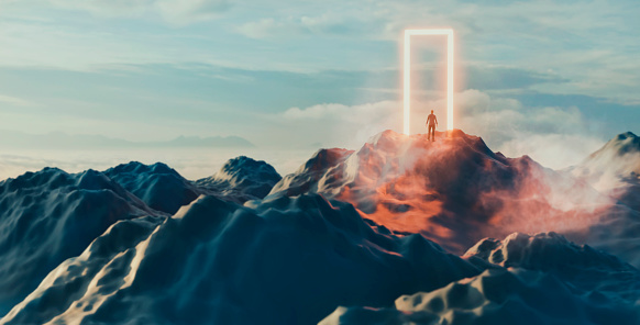 On top of a hill is a giant portal og glowing door. A man stands in front of it and is about to enter the unknown.