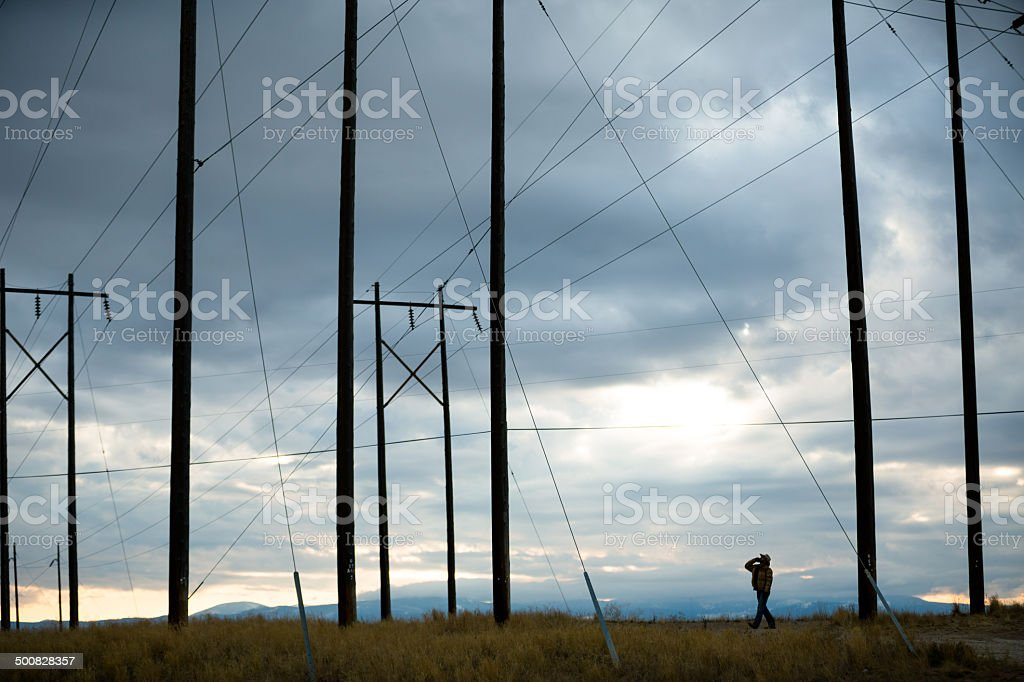 Man stands near horizon beneath power lines on cloudy day