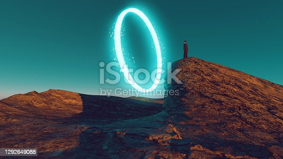 Digitally generated image of man standing in front of neon portal. Concept of chosing the right path.