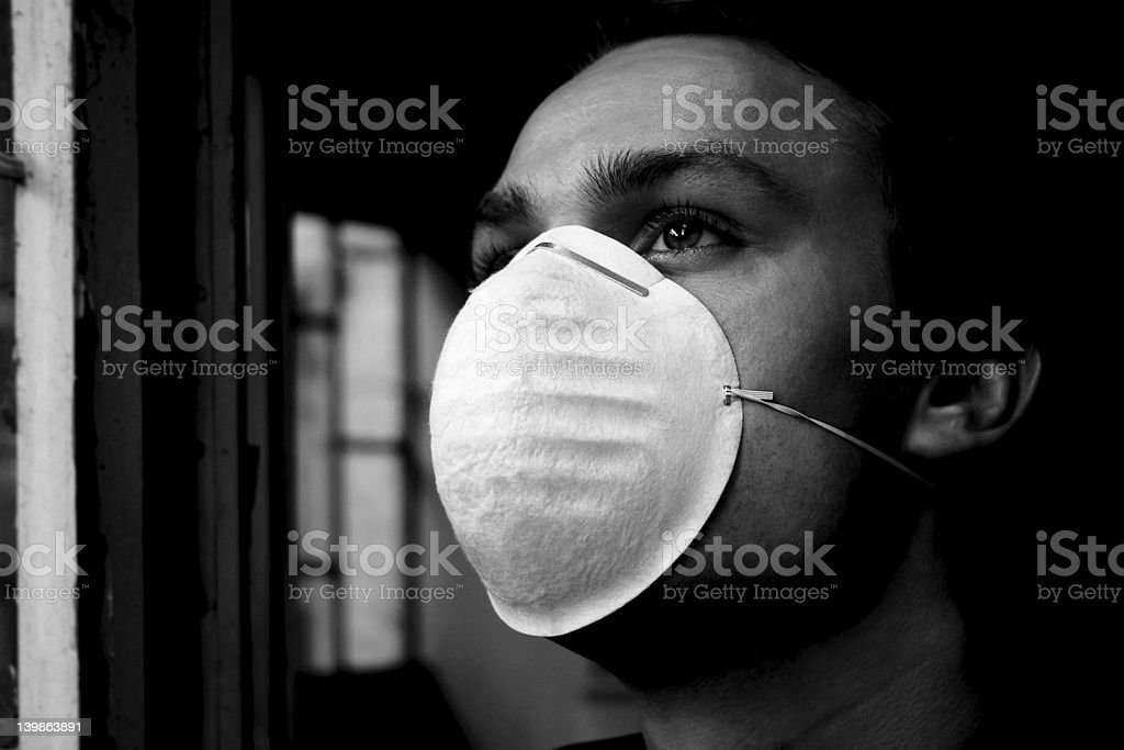 Man Staring Into The Polluted Future - dramatic b/w version royalty-free stock photo
