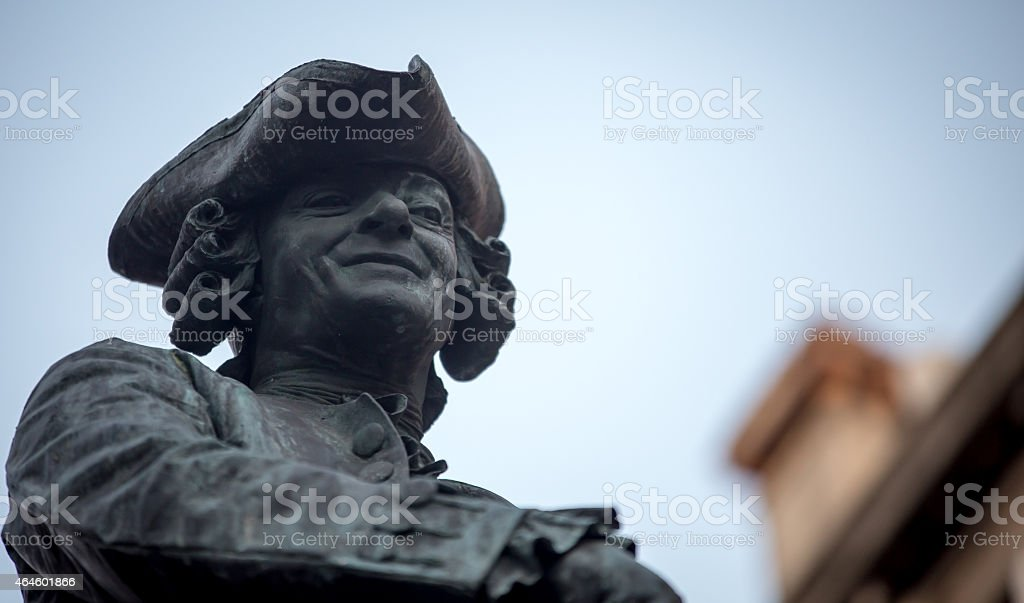 man statue with a hat stock photo