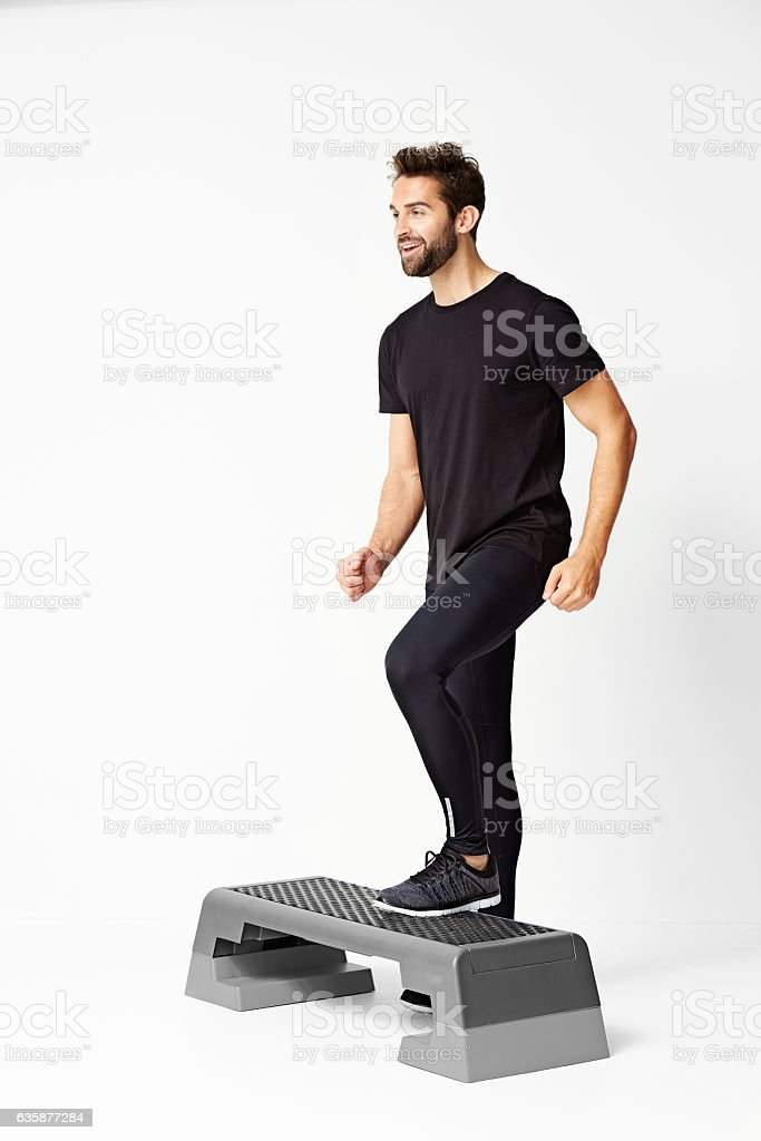Man stepping stock photo