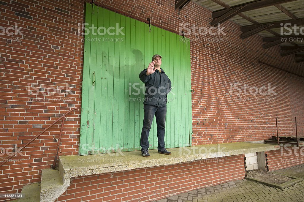 man stop the entry royalty-free stock photo