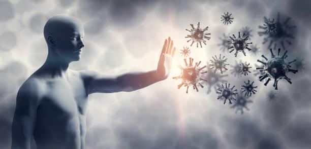 mann stoppt coronavirus. immunsystem verteidigen gegen coronavirus covid-19. - immunsystem stärken stock-fotos und bilder