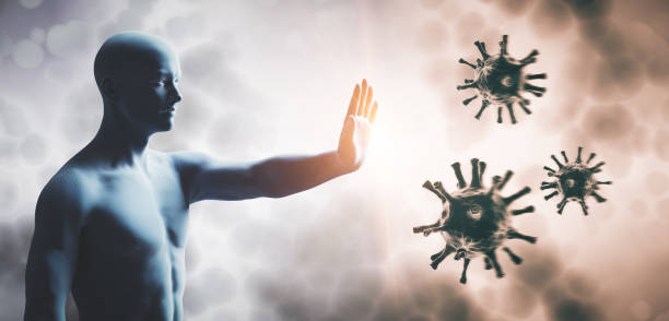 Man stopping coronavirus. Immune system defend from corona virus COVID-19. stock photo