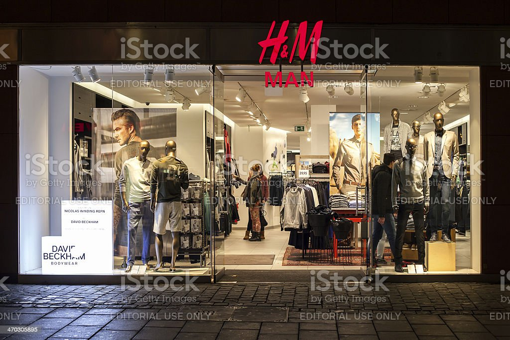 H&M man store stock photo