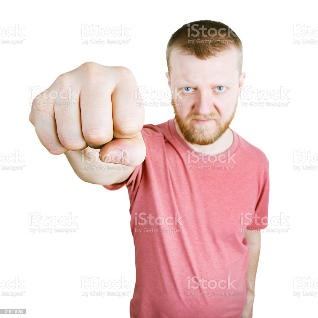Man stretched out his fist forward stock photo