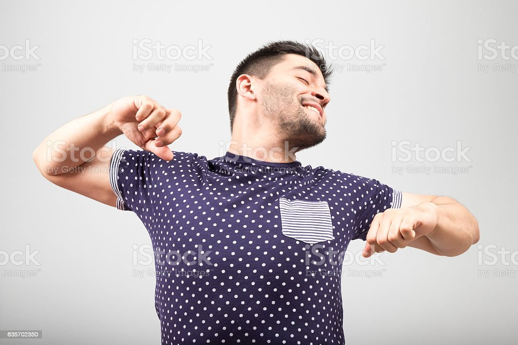 Man stretching after wake up royalty-free stock photo