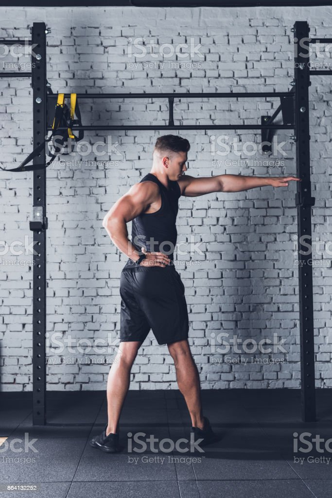 man stretching before training royalty-free stock photo