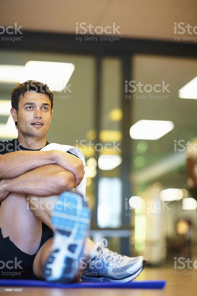 Man stretching before workout royalty-free stock photo