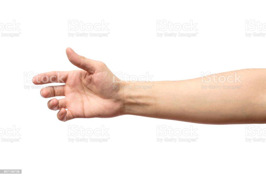 Mann, die Dehnung Hand Handschlag isoliert auf weißem Hintergrund – Foto
