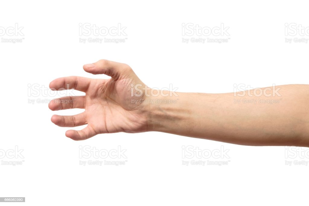 Man stretching hand to handshake isolated on a white background stock photo