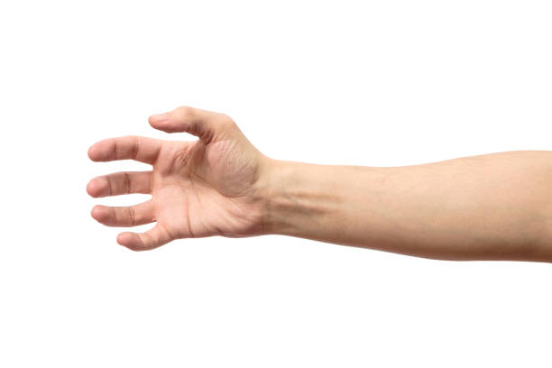 man stretching hand to handshake isolated on a white background - gripping stock photos and pictures