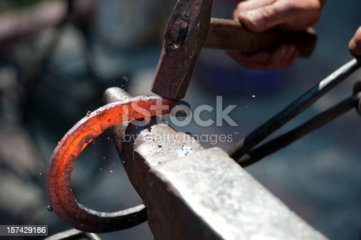 red hot horseshoe on the anvil