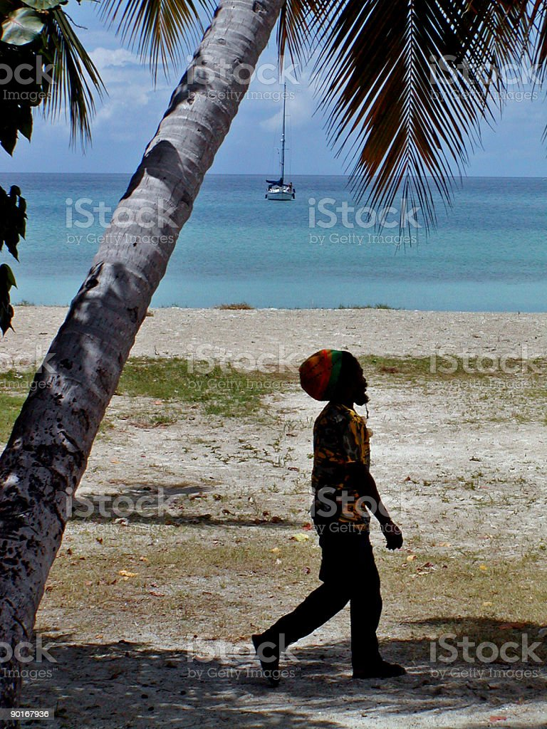 Man strolling on the beach stock photo