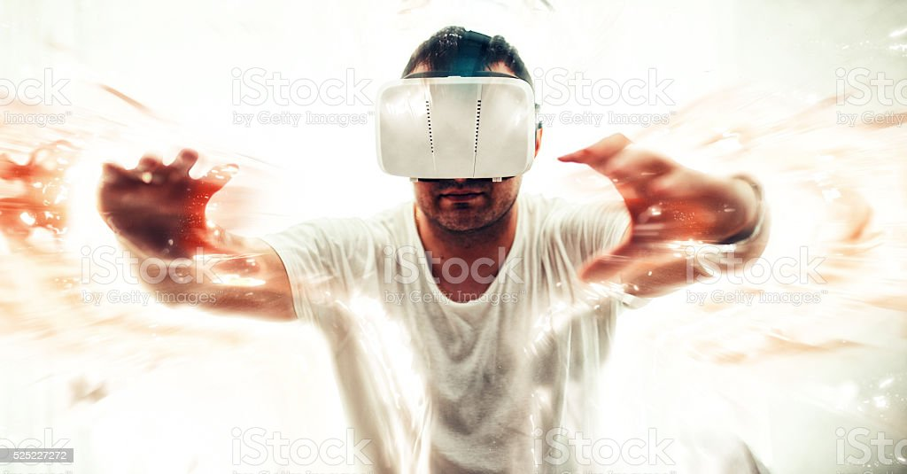 Man stuck in virtual world stock photo