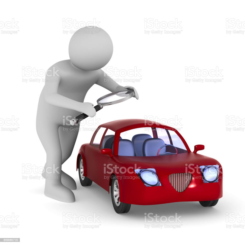 man studies red car on white background. Isolated 3d illustration stock photo