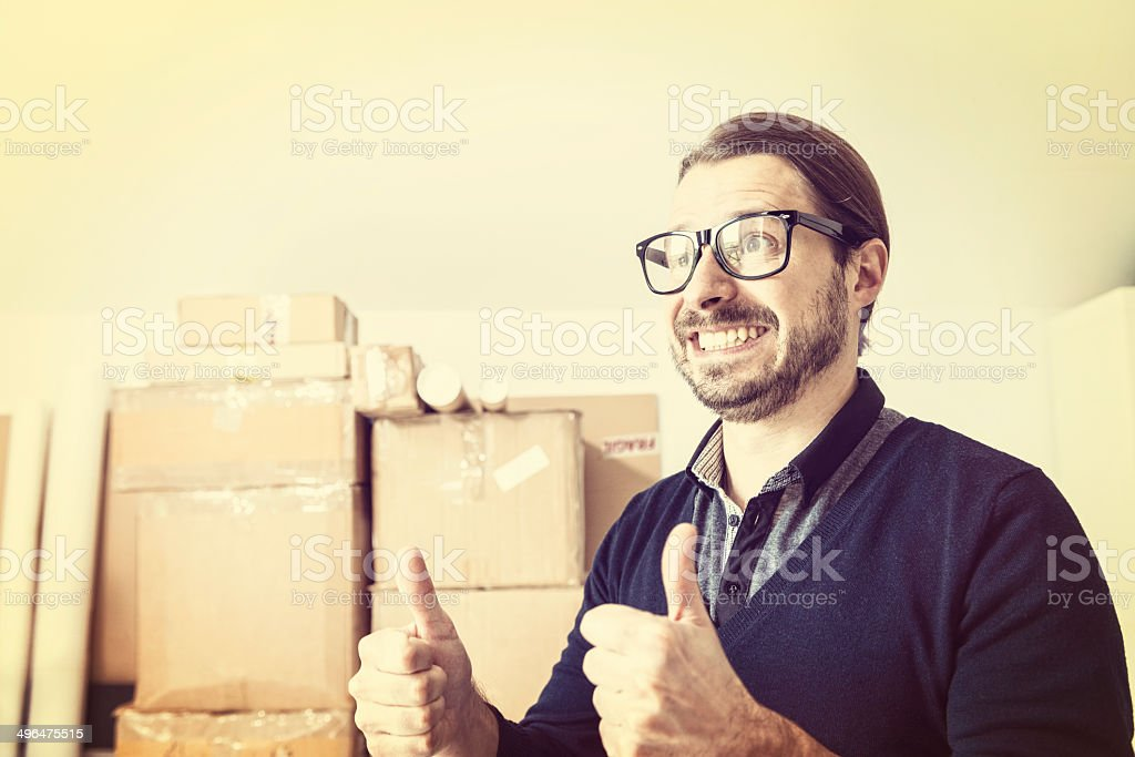 Man succeed in new business, smiling, happiness, nerd, beard, retro stock photo