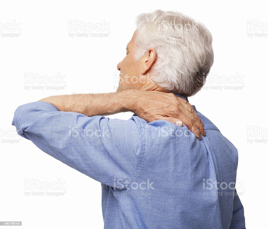 Man Suffering With Shoulder Pain - Isolated royalty-free stock photo