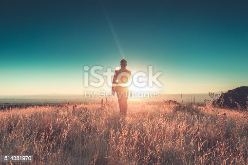 a man striding through the desert meadow with a suit on at the intersection of business and the environment.  horizontal composition with copy space and filtered color treatment.