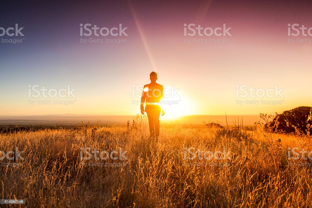 man sun business suit nature landscape stock photo
