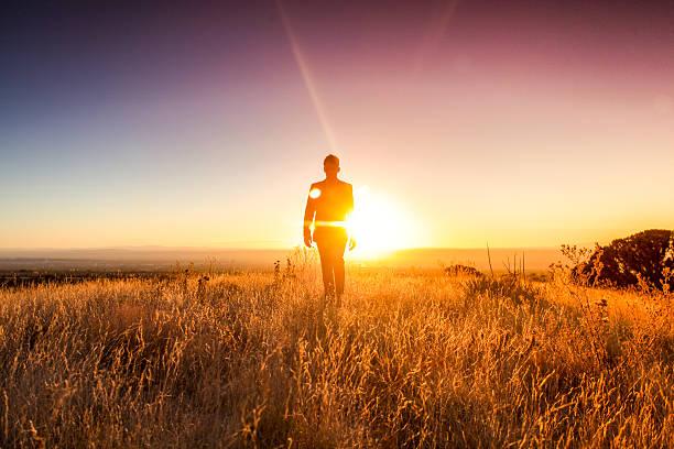 man sun business suit nature landscape stock photo