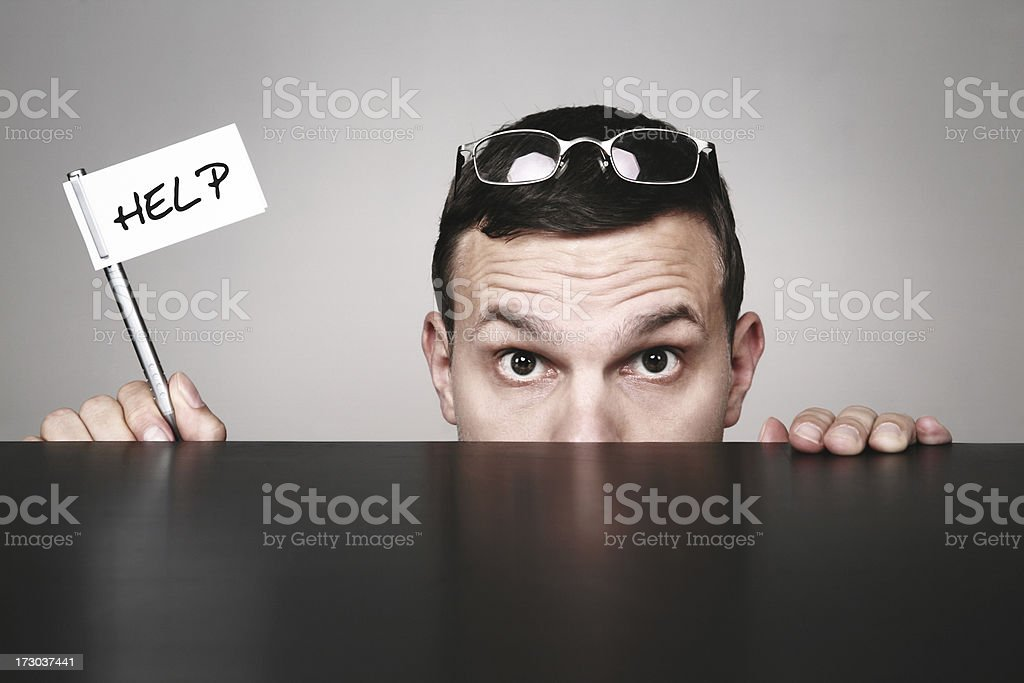 man sunglasses peeking and holding help sign on pen royalty-free stock photo