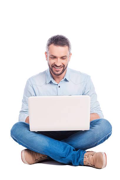 Man surfing the net. stock photo