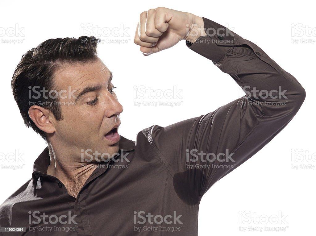 Man surprised Portrait looking at sweat stain perspiring royalty-free stock photo