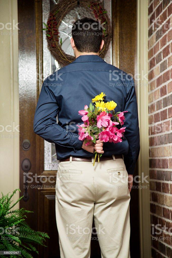 Man Surprising Mom Or Girlfriend Flowers Front Door Valentines Day