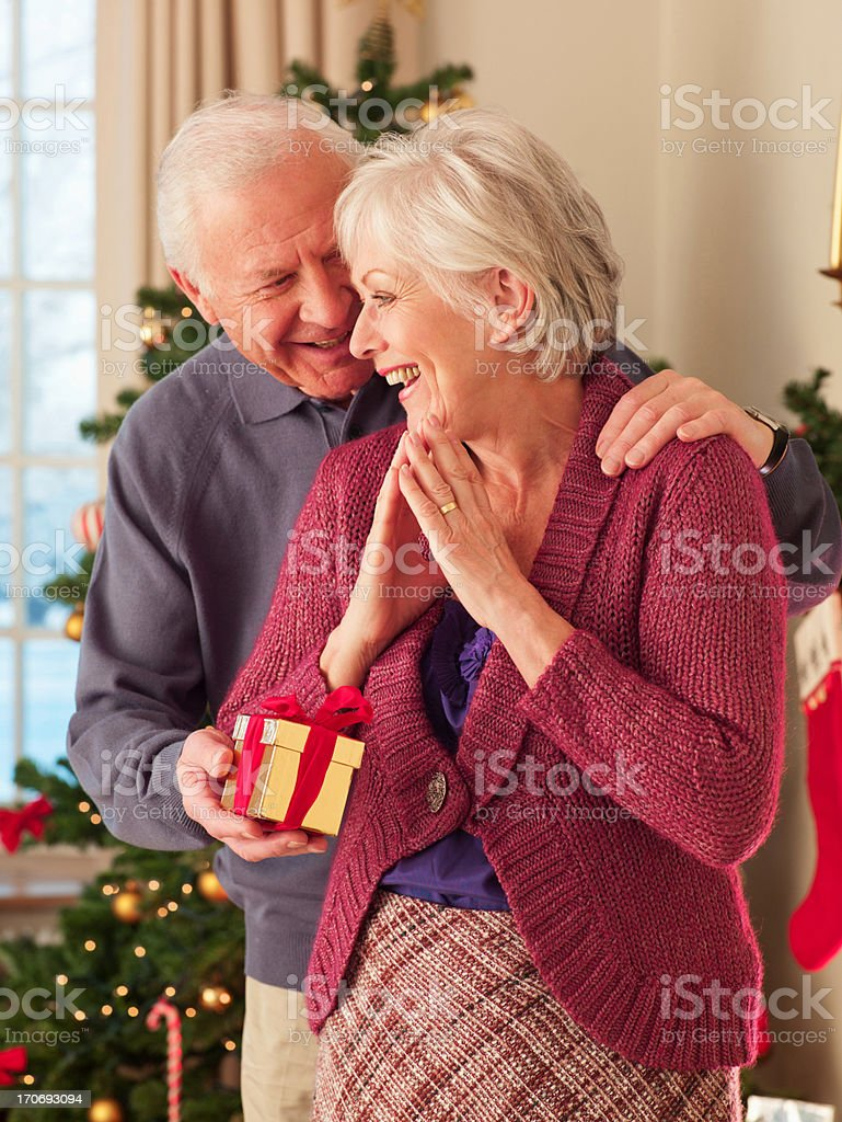Man surprising woman with Christmas gift royalty-free stock photo