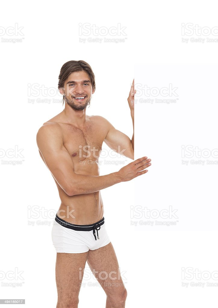 man swimsuit blank board empty copy space stock photo