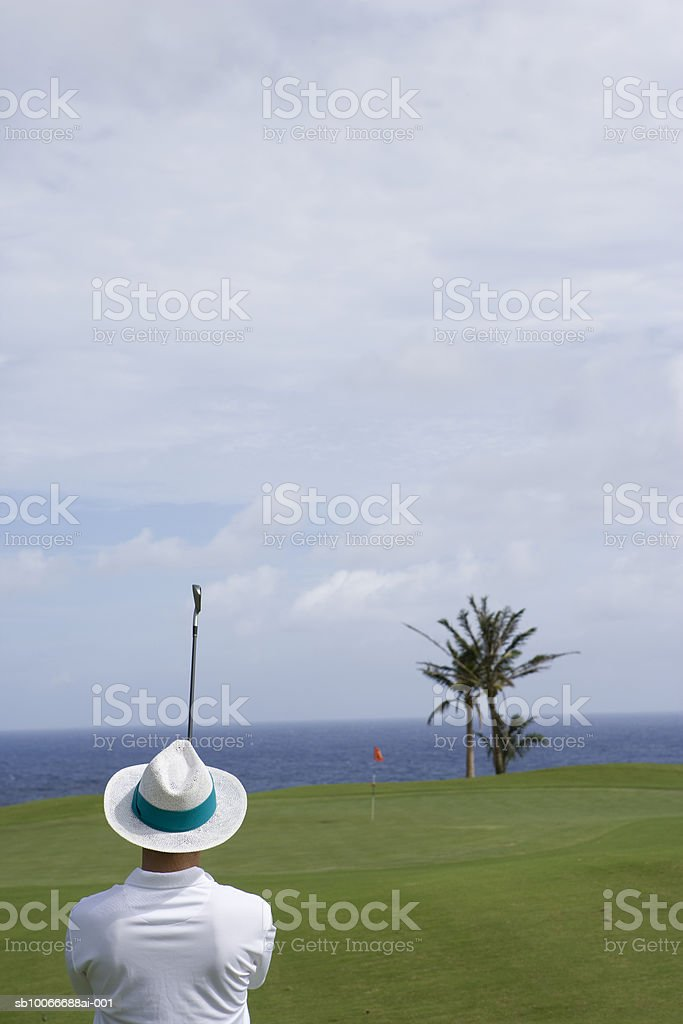 Man swinging golf club, rear view 免版稅 stock photo