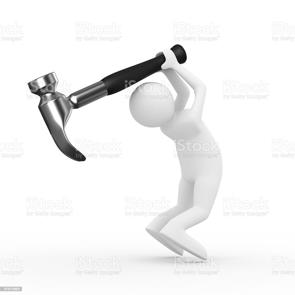 Man swings arm hammer on white background. Isolated 3D image royalty-free stock photo