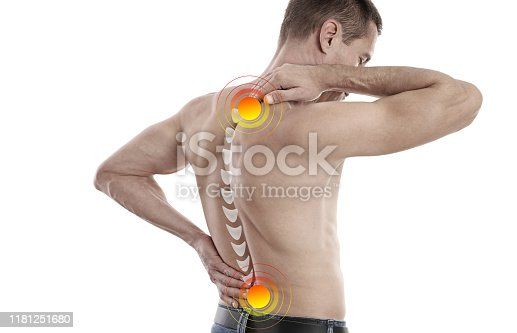 863158416istockphoto Man swith back and neck pain. Chiropractic concept.. Pain relief, Sport exercising injury 1181251680