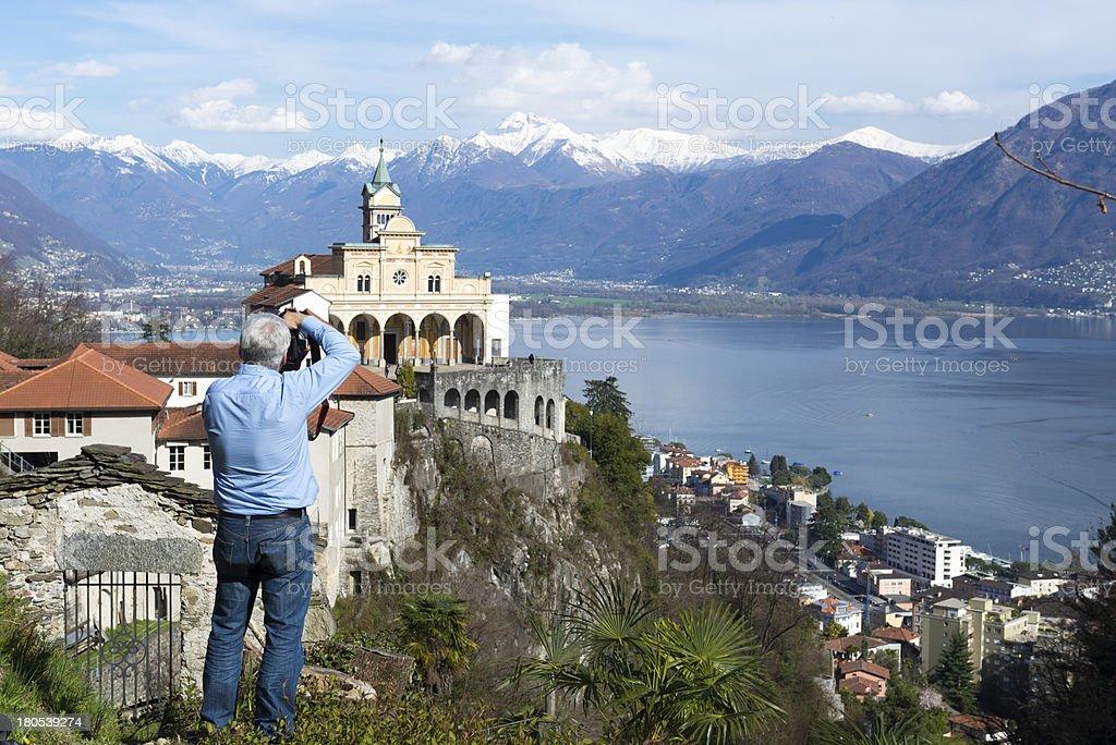 Man take a photo stock photo