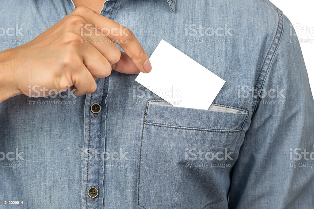 Man taking a blank business card - foto de stock