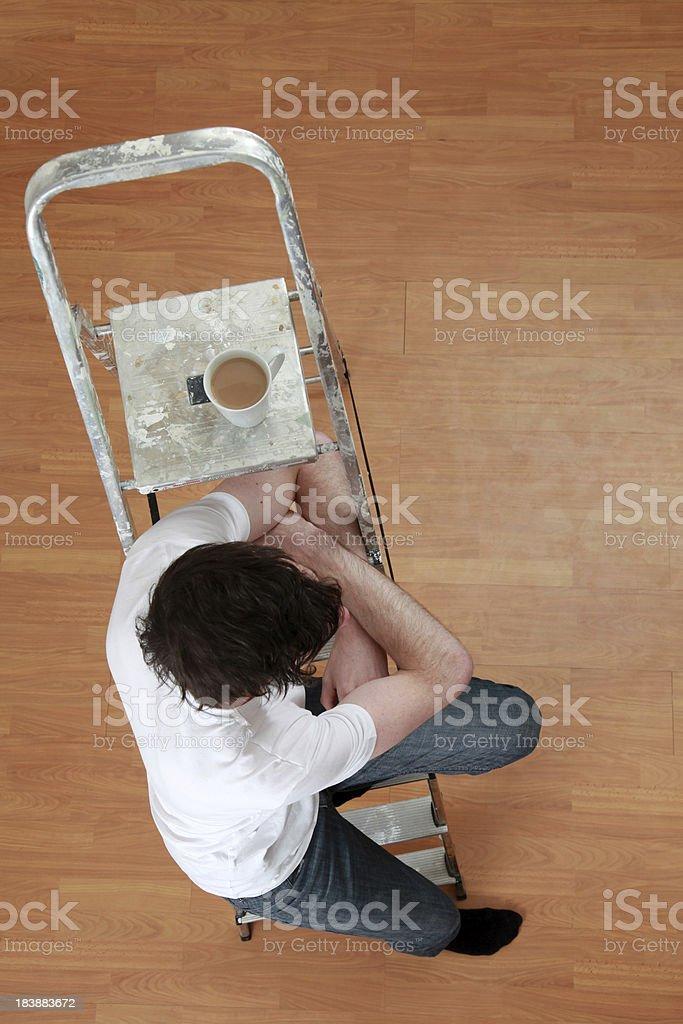 DIY man taking a break for tea royalty-free stock photo