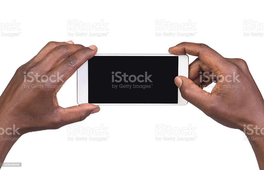 Man taking a picture using a smart phone stock photo