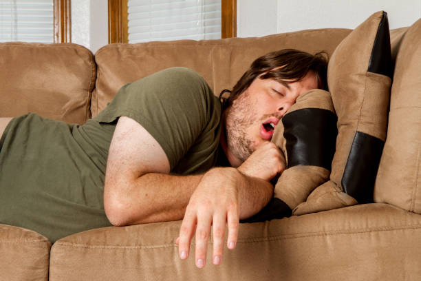 man taking a quick nap on the couch - sloth stock pictures, royalty-free photos & images