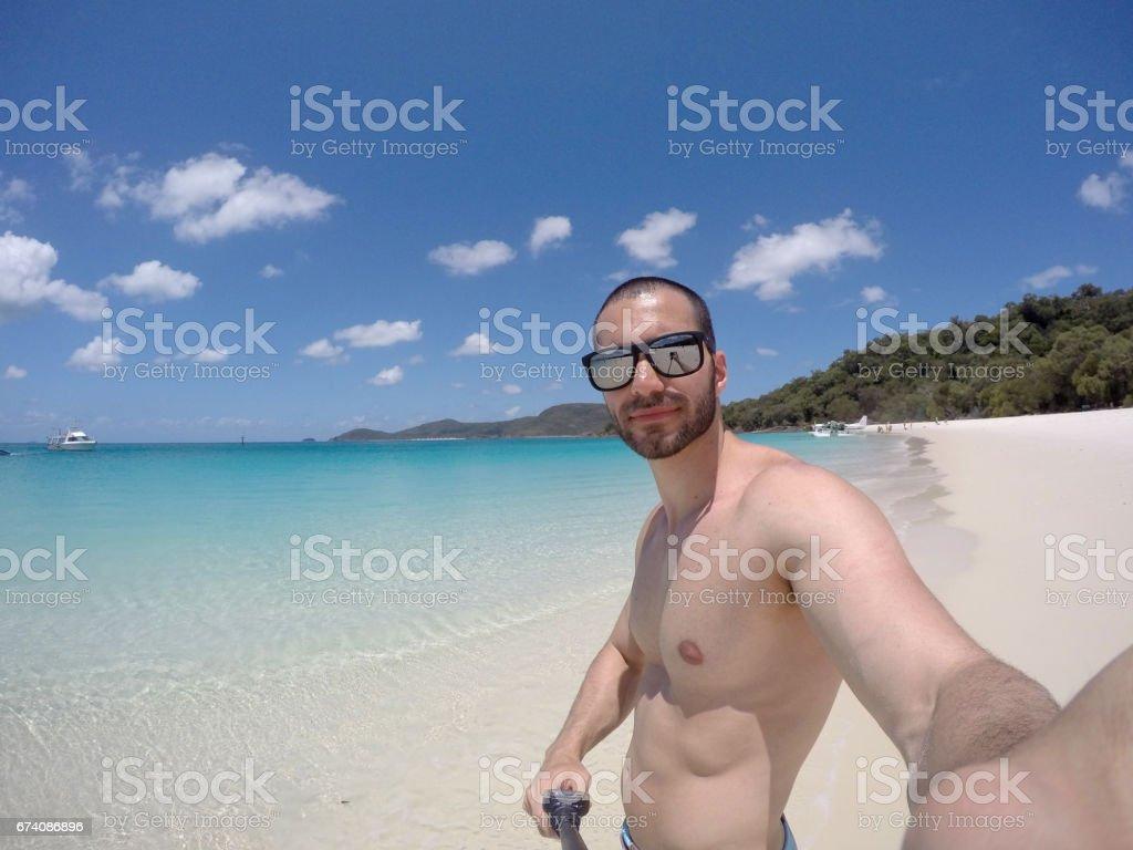 Man taking a selfie in Whitsunday, Australia royalty-free stock photo