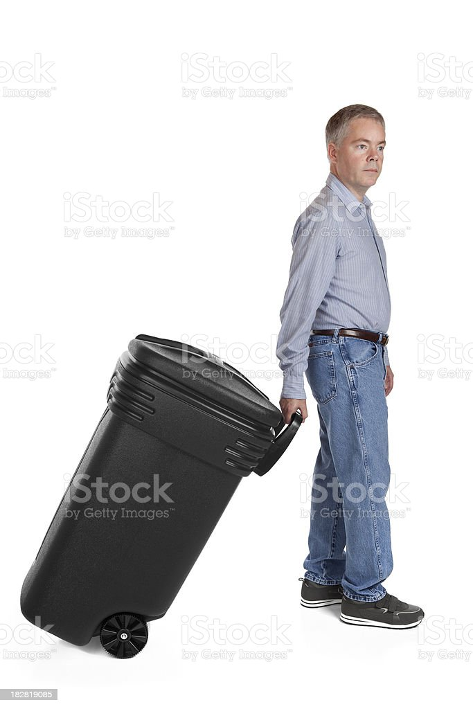 Man Taking Out The Trash royalty-free stock photo