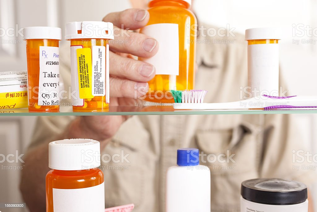 Man taking prescription medicine, pills out of cabinet. stock photo