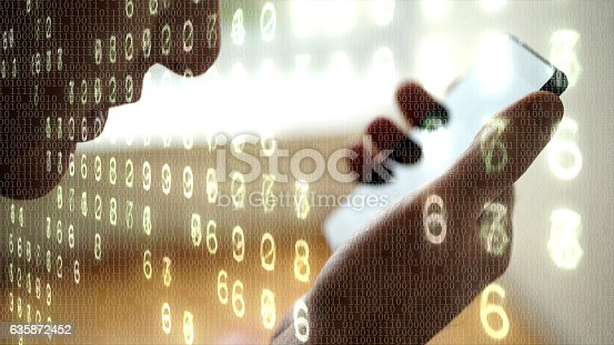 Close up of someone talking on a smart phone with binary code and electronic numbers composited on the image.