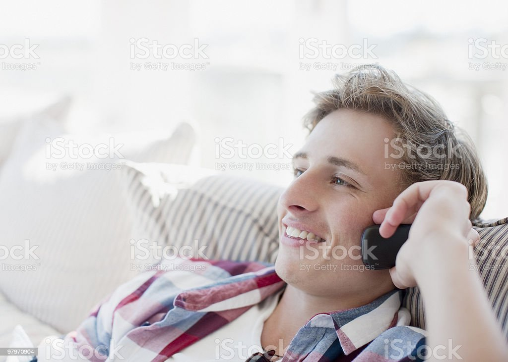 Man talking on cell phone royalty-free stock photo