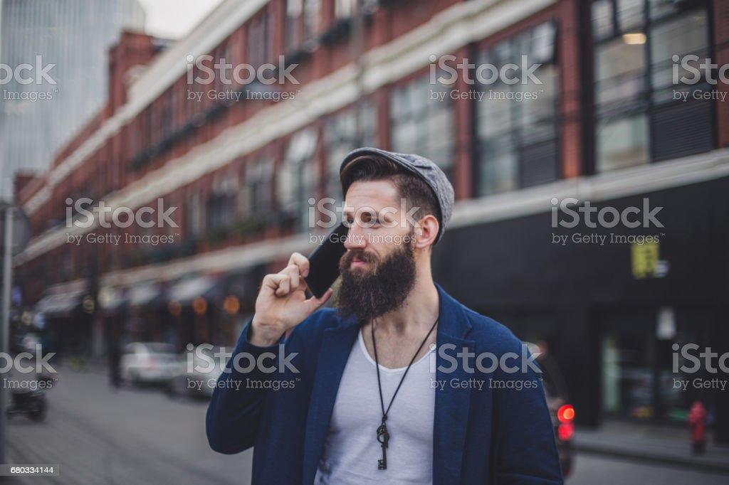 Man talking on mobile royalty-free stock photo