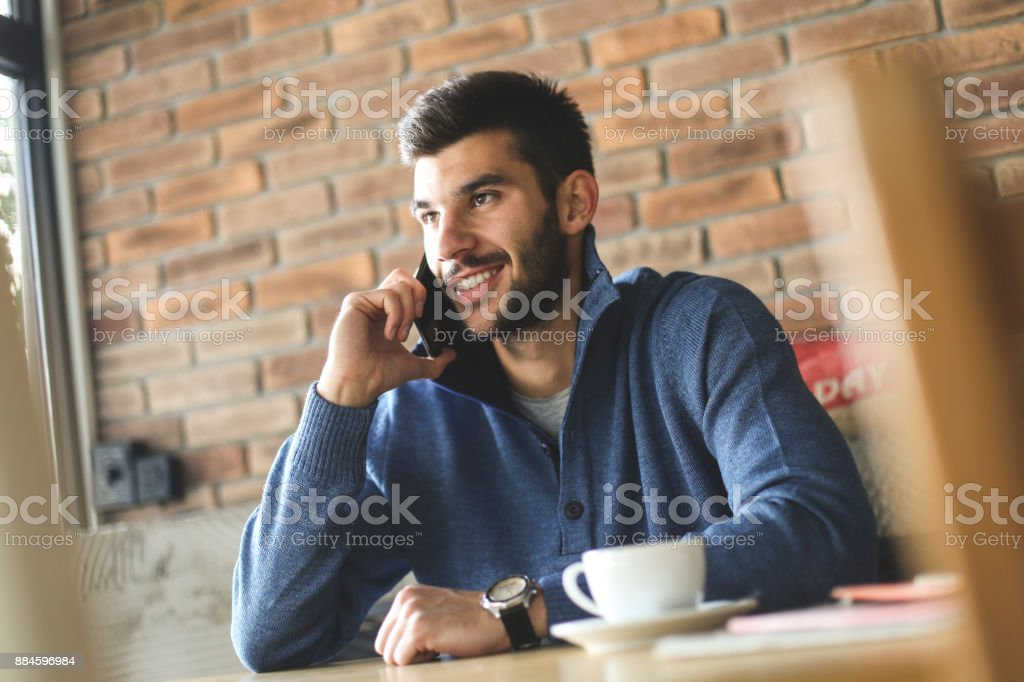 Man talking on phone stock photo